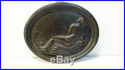 Femme nue Ancienne sculpture médaillon élégante bronze érotique Art nouveau