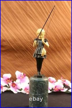 Figurine De Jeune Fille Pêche Fonte Bronze Art Sculpture Vert Marbre Base