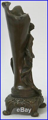 Fin Original Art Nouveau Bronze Sculpture Vase avec / Nu Femme Kassin 1985