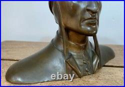 Fine Bronze Buste Dante Alighieri Antique Sculpture Art Nouveau Statue