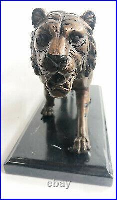 Fonte Art Déco Africain Tigre Bronze Sculpture Marbre Base Faune Statue Large