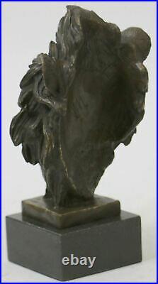 Fonte Signé Bronze Royal Lion Statue Sculpture Buste Marbre Base Figurine Art