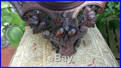 Foret noire bois grand baromètre sculpture tête sanglier, perdrix, Art nouveau