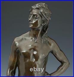 G. Récipon Escrimeur 1890 Rares Élégant Bronze Sculpture Defi Art Nouveau