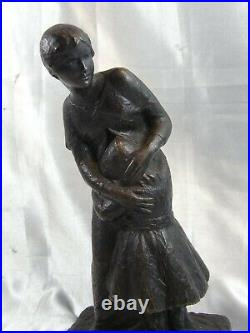Ganuchaud Ancienne Statue Bronze Epreuve Modele Art Nouveau Deco Sculpture