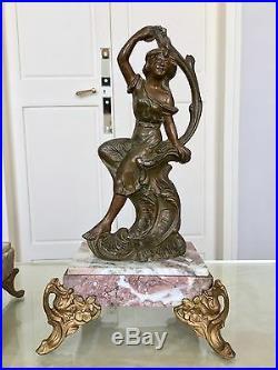 Garniture de cheminée Art Nouveau Pendule Régule Sculpture Marbre