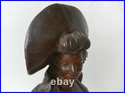 Georges Van der Straeten buste de femme art nouveau métal et marbre Belgique