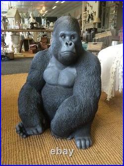 Gorilla Sculpture, Argent Arrière, Résine Vivid Arts King Kong Mighty Joe