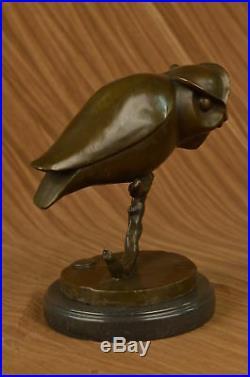 Grand Abstrait Pure Statue Bronze Chouette Art Déco Sculpture Figurine Décor
