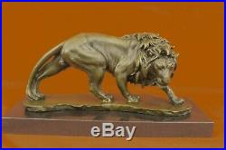 Grand Art Décor Africain Lion Safari Bronze Sculpture Marbre Base Figurine