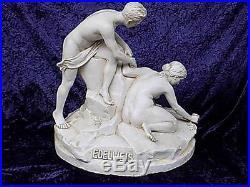 Grand Art Figurine Edelweiss sur Narturalistischen Culot Sculpture 20. JHD
