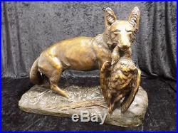 Grand Art Nouveau Sculpture Fuchs avec Oie Sig. Em Samson Terre Cuite 20. JHD
