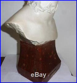 Grand Buste Sculpture Femme Art Nouveau Signe Alfredo Neri Platre Marbre 1905
