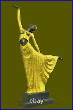 Grand Dimitri Chiparus Dancer Art Déco Bronze Sculpture Marbre Base Figurine