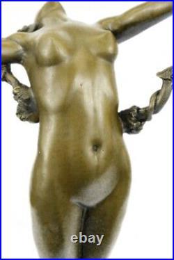Grand Semi Chair Grec Déesse De Vigne Bronze Marbre Sculpture Art Nouveau Statue