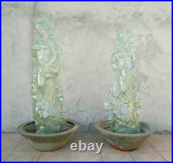 Grandes sculptures déesses en verre thermoformé époque Art nouveau Art Déco