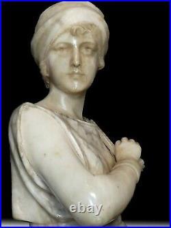 Guglielmo PUGI Sculpture la glaneuse marbre et albâtre (1850-1915) Art nouveau