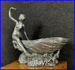 HENRY FUGÈRE (1872-1944) Importante sculpture art nouveau en étain argenté