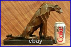 Henry Moore Art Moderne Abstrait Jaguar Panther Cougar Lion Bronze Sculpture En