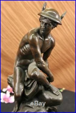 Hermes Mercury Roman Messager God Statue Bronze Sculpture Fonte Art Figurine