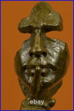 Homme Visage Sculpture Statue Nouveau Bronze Dali Le Silence Chaud Cast Art Déco