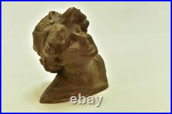 Jeune fille sculpture style Art nouveau terre cuite