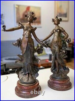 L F MOREAU PAIRE DE SCULPTURES ART NOUVEAU IRIS signées fin 19em dé 20em siècle