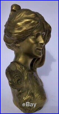 L. Savine (1861-1934) Sculpture Buste Bronze Doré Art Nouveau 1900 Belle Epoque