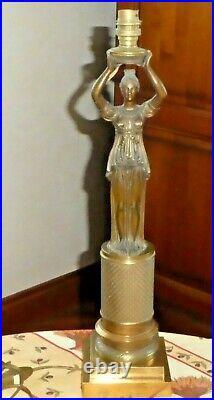 Lampe art nouveau art déco sculpture statue femme En Bronze Doré Guilloché SUPER