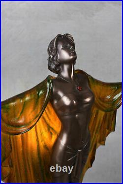 Lampe de Table Art Deco Sculpture Tänzeriin 20er Années Style Figure Féminine