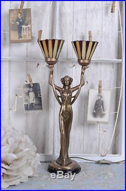 Lampe de table Art Nouveau Tiffany Style femme sculpture lampe de chevet neuf