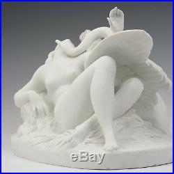Leda et Le Cygne Um 1900 Louis Kley Art Nouveau Manufacture E. Samson Paris
