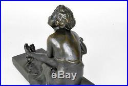 M Nannini, femme assise, sculpture Art Nouveau, XXème siècle
