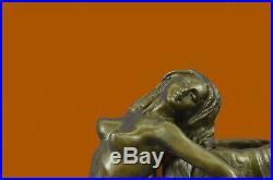 Main Style Art Nouveau Sirène Vase Par Aldo Vitaleh Bronze Sculpture Figurine