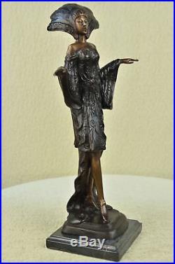 Marron Patine un Princesse Bronze Marbre Base Sculpture Art Déco Figurine