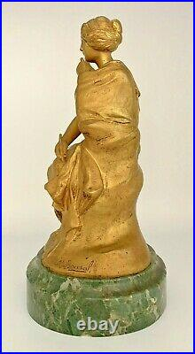 Maurice BOUVAL sculpture bronze doré, base marbre vert-art nouveau-gurschner