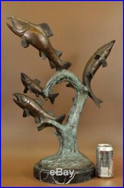 Mer Rive Natation Poisson Truite Bronze Marbre Sculpture Statue Art Déco Solde