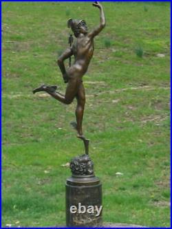 Mercury / Hermes & Cauceus Bronze Sur Marbre Base Signé Sculpture Art Fonte