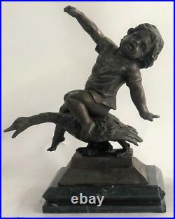 Mythique Enfants Détaillé Bronze Sculpture Style Art Nouveau Figurine Fonte