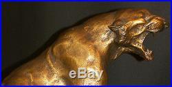 N1 1930 Th. CARTIER bronze animalier Lionne blessée 20kg50cm statue sculpture