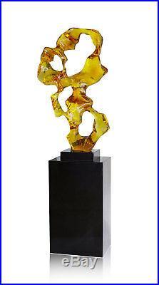 Notre Neuf Abstrait Sculpture Transparent Bernsteinfarben. Hauteur 80 CM