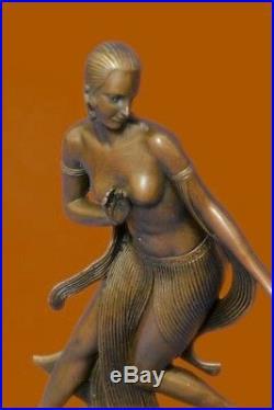Nue Femme Danseuse Art Déco / Nouveau Fonte Bronze Sculpture Statue Figurine T