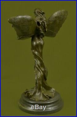 Ouest Pure Bronze Marbre Fairy Nymphe Ange Statue Art Déco Sculpture Figurine