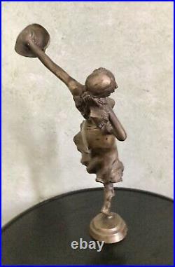 P. Sega Art Nouveau Ancien Grand Sculpture En Bronze Danseuse, Ciselure, Signé