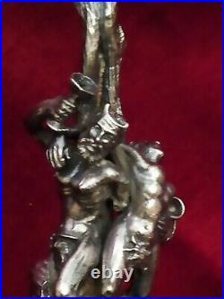 Paire de flûtes à Champage Cristal taillé Sculpture de Bacchus argent ancien