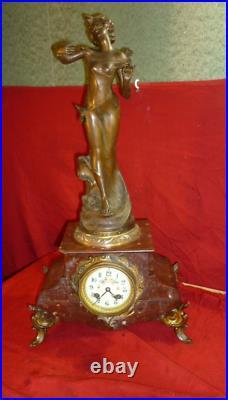 Pendule 19 Eme Marbre Sculpture De Causse Art Nouveau Marble Statue Clock 19th