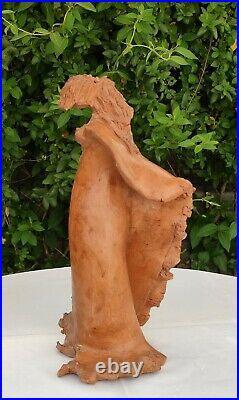 Pied De Lampe Sculpture En Terre Cuite Signe À Décor De Femme Art Nouveau
