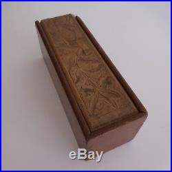 Plumier EVIAN sculpture bois fait main art nouveau déco XXe PN France N2942