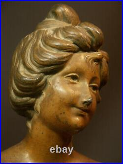 R joli buste signé GUAL statuette statue sculpture 28cm 1900 art nouveau régule