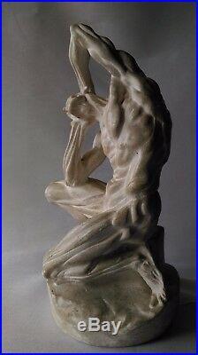 RARISSIME SCULPTURE ÉCORCHÉ dit de MICHEL-ANGELO ANCIEN PLATRE du XIXe